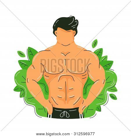 Strong Fitness Muscular Man With Perfect Body. Green Nature Leafs. Vector Trendy Flat Illustration C
