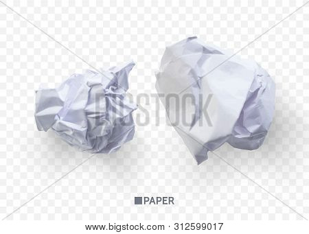 Crumpled Paper Ball. Isolated On Transparent Background. Vector Illustration For Businnes Concept, B