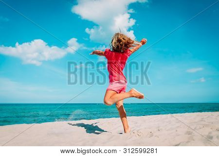 Cute Little Girl Dance Play At Summer Beach