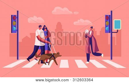 Disabled And Healthy Pedestrians With Pets Crossing Road Interchange In City, Blind Man Walking With
