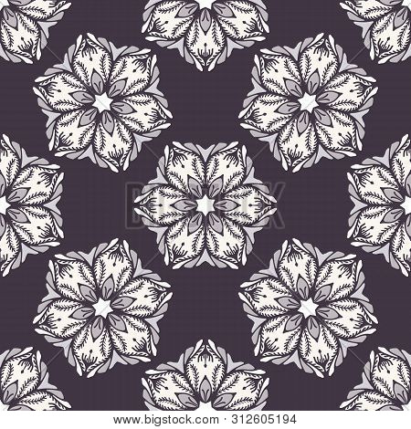 Hand Drawn Abstract Christmas Flower Seamless Pattern. Stylized Poinsettia Floral. Black White Backg