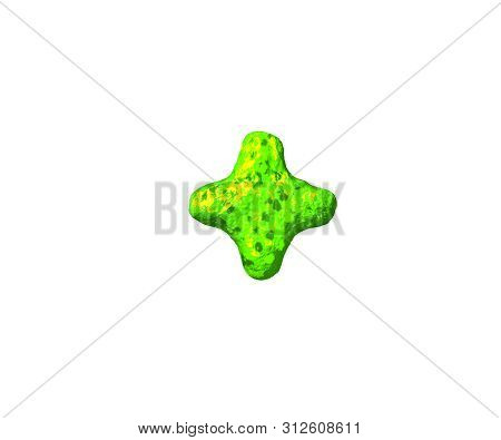 Plus In Monstrous Style Isolated On White Background - Green Slime Font, 3d Illustration Of Symbols