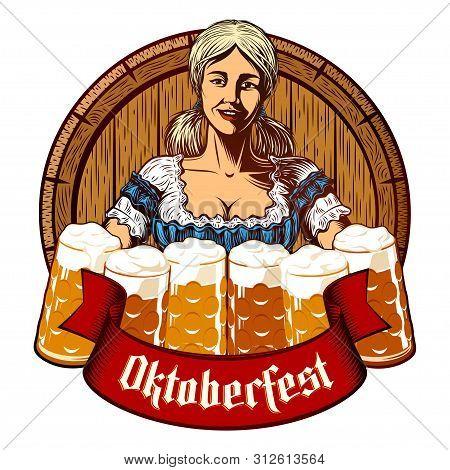 Oktoberfest Girl Waitress Holding Glass Beer Mugs In Bavarian Dirndl. Wooden Cask On Background. Rib