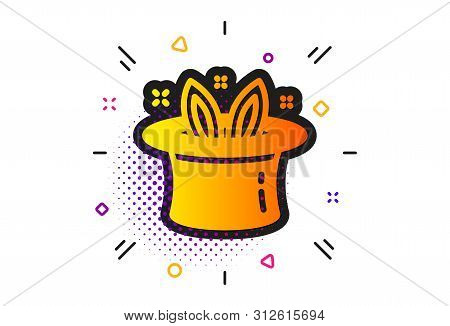 Magic Tricks With Hat And Rabbit Sign. Halftone Circles Pattern. Hat-trick Icon. Illusionist Show Sy