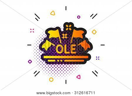 Championship With Flags Sign. Halftone Circles Pattern. Ole Chant Icon. Sports Event Symbol. Classic