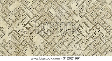 Seamless Pattern Of A Monochrome Antique Maze Scheme, Painted On Old Paper Or Parchment. Vintage Dun