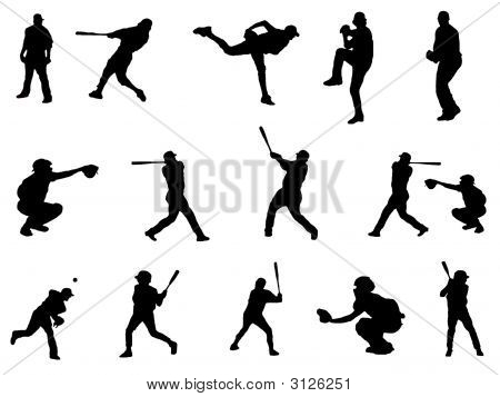 Baseball Players Silhouette