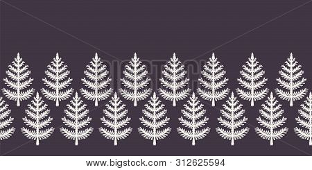 Hand Drawn Stylized Christmas Tree Border Pattern. Geometric Abstract Fir Forest On Ecru White Backg