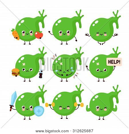 Cute Healthy Happy And Sick Sad Unhealthy Gallbladder Organ Character Set Collection. Vector Flat Ca