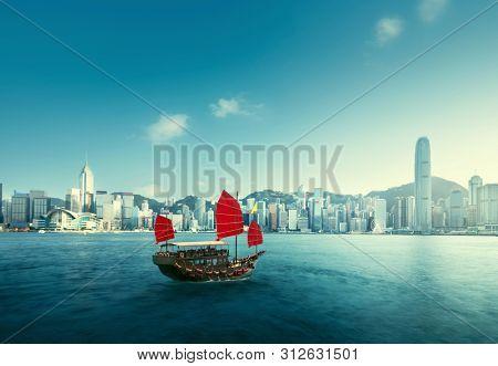 Hong Kong harbour, sunset time, China