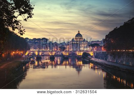 Tiber and St Peter Basilica in Vatican