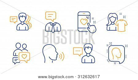 Heart Rating, Human Sing And Clean Shirt Line Icons Set. Dating Chat, People And Support Service Sig