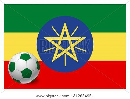 Ethiopia Flag And Soccer Ball. National Football Background. Soccer Ball With Flag Of Ethiopia Vecto