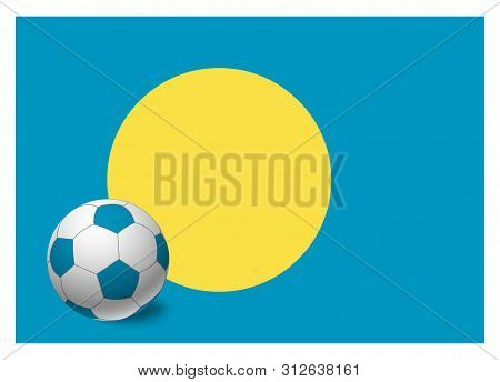 Palau flag and soccer ball. National football background. Soccer ball with flag of Palau vector illustration poster