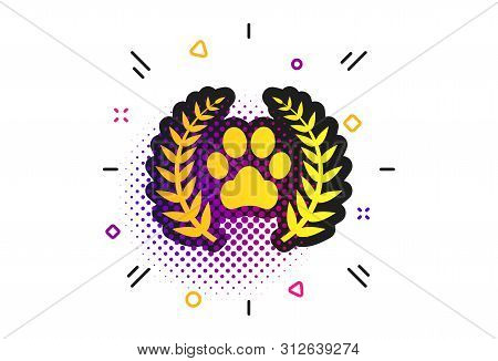 Winner Pets Laurel Wreath Sign Icon. Halftone Dots Pattern. Dog Paw Symbol. Classic Flat Pets Icon.