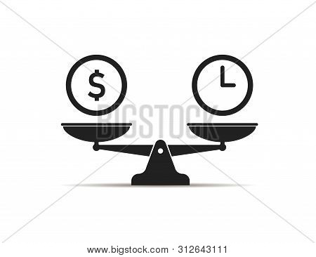 Scale Icon Money Vs Time Balance Isolated Icon. Value Work Concept. Clock And Dollar Signs.