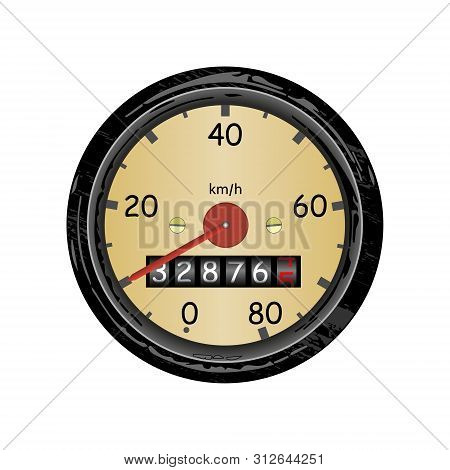 Car Speedometer With Speed Scale And Kilometer Counter. Vector Illustration.