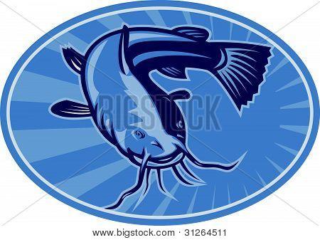 Bullhead Catfish Retro Woodcut