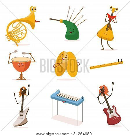 Funny Musical Instruments Cartoon Characters With Funny Faces Set, Guitar, Synthesizer, Flute, Bagpi