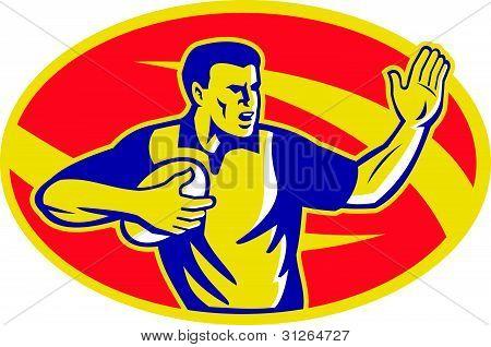 Rugby Player Running Fending Ball Retro