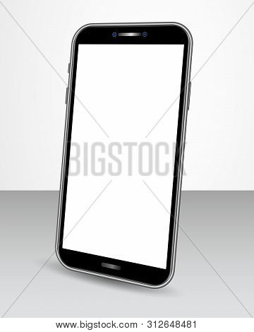 Realistic Smartphone With Blank Screen Isolated On Glossy Table In Perspective View . Smart Phone Mo