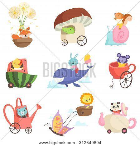 Cute Baby Animals In Transport Set, Fox, Crocodile, Squirrel, Chicken, Bunny, Bear, Lion, Monkey, Pa