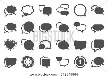 Speech Bubbles Icons. Social Media Message, Comic Bubbles And Chat. Think Sticker, Comment Speech An