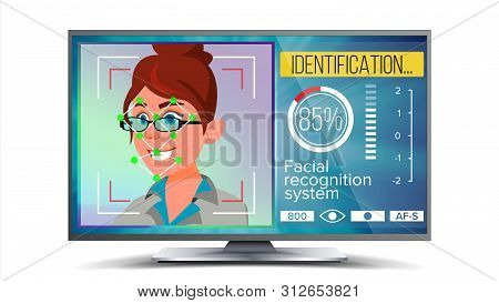 Face Recognition, Identification System . Face Recognition Technology. Woman Face On Screen. Human F
