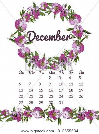Printable Botanical Calendar 2020 With Wreath And Endless Brush Of Pink Peony Flowers And Leaves. Ha