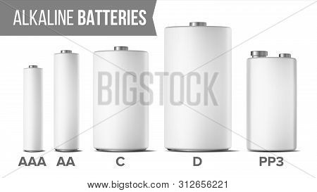 Alkaline Batteries Mock Up Set . Different Types AAA, AA, C, D, PP3, 9 Volt. Classic Modern Realistic Battery. White Clean Empty Template. Isolated Illustration poster