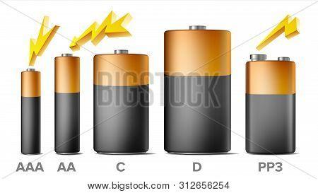 Alkaline Batteries Mock Up Set . Different Types Aaa, Aa, C, D, Pp3, 9 Volt. Standard Modern Realist