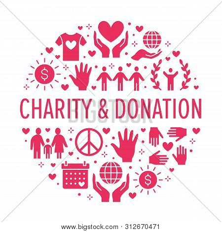 Charity Vector Circle Banner With Flat Silhouette Icons. Donation, Nonprofit Organization, Ngo, Givi