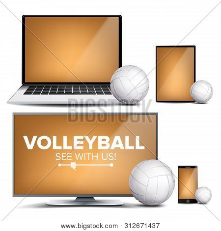 Volleyball Application . Field, Volleyball Ball. Online Stream, Bookmaker, Sport Game App. Banner De