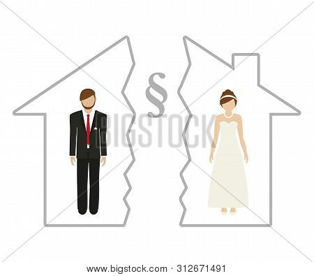 Division Of Property At Divorce Of Man And Woman In A Half House Vector Illustration Eps10