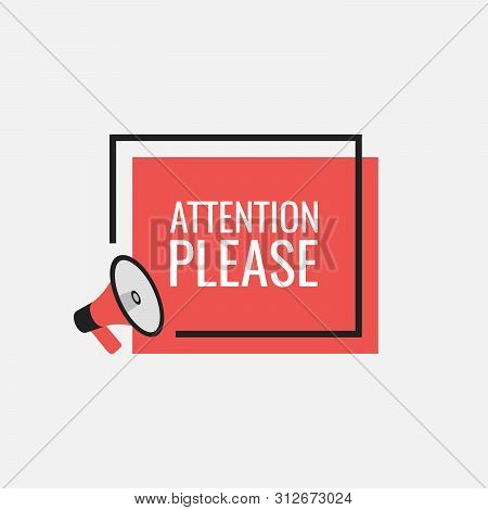 Attention Please Bubble With Megaphone. Flat Cartoon Style. Modern Flat Style Vector Illustration