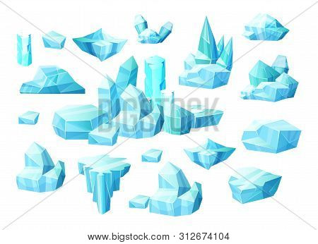 Realistic Set Of Crystals Of Ice, Iceberg Broken Pieces Of Ice