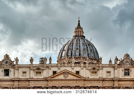 St. Peter's cathedral in Vatican view from Via della Conciliazione (Road of the Conciliation) in Rome, Italy