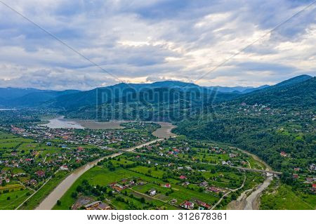 Above View Of Summer Village, Bistrita River Valley In Romania
