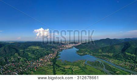 Aerial Summer Landscape Of Bistrita Green Valley And Piatra Neamt City In Romania