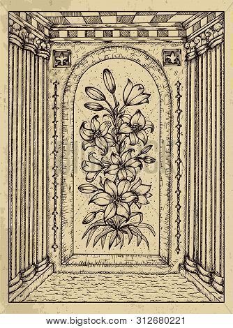 Lily. Mystic Concept For Lenormand Oracle Tarot Card. Vector Engraved Illustration. Fantasy Line Art