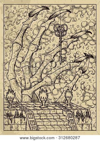 Key. Mystic Concept For Lenormand Oracle Tarot Card. Vector Engraved Illustration. Fantasy Line Art