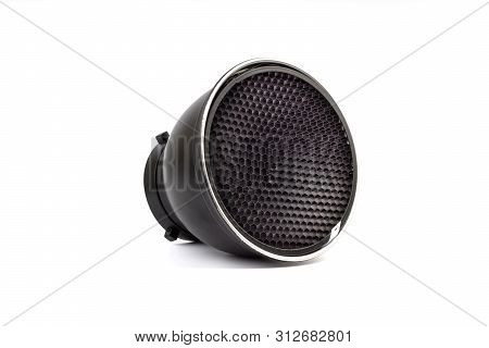Reflector With Honeycomb Grid Accessory For Studio Strobes And Flashes On White Background. Selectiv