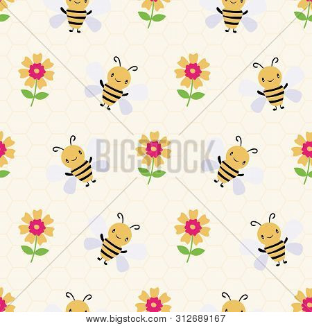 Cute Cartoon Honey Bees And Flowers On Subtle Yellow Honeycomb Background. Seamless Vector Pattern.