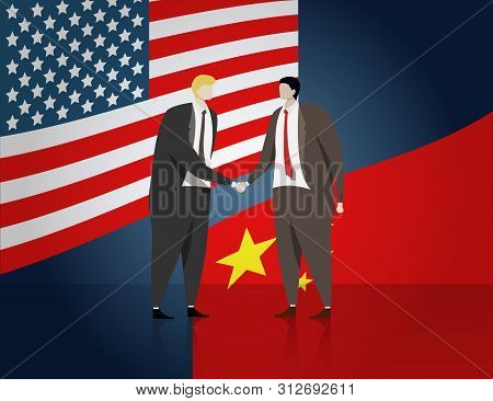 Business People Shaking Hand For Make A Deal Of Business, Flag Of Usa And China At Background. Usa A