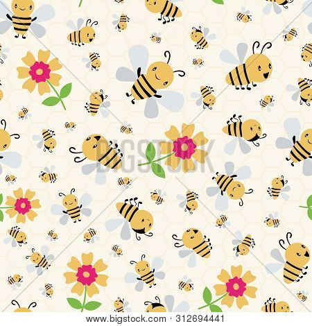 Cute Cartoon Honey Bees And Flowers On Subtle Yellow Honeycomb Background. Busy Seamless Vector Patt