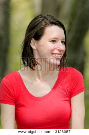 Smiling Woman In Red
