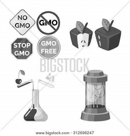 Vector Illustration Of Transgenic And Organic Symbol. Set Of Transgenic And Synthetic Stock Symbol F