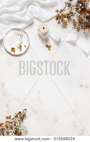 Wedding, Birthday Stationery Styled Stock Photo. White Table Runner, Porcelain Plate With Stamp, Gol
