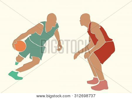 Two Basketball Players With A Ball. Sport Illustration. Applique Or Paper Cut Style. Colorful Vector