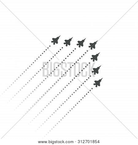 Military Aviation. Fighters Fly Up. Wedge Shape Of Flying Jet Planes. Silhouettes Of Reactive Planes